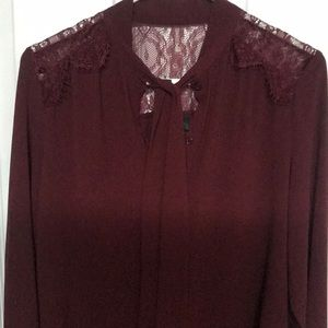 Wine color Blouse with lace